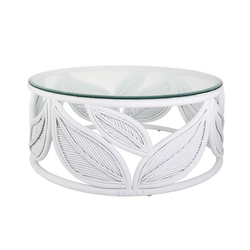 Seville Glass Topped Rattan Round, White Round Coffee Tables