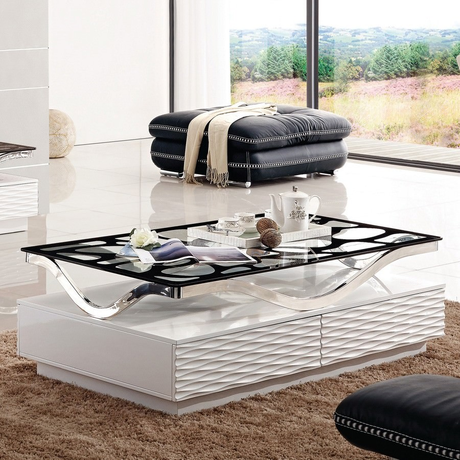 Wave Glass Top High Gloss 140cm Coffee Table - White