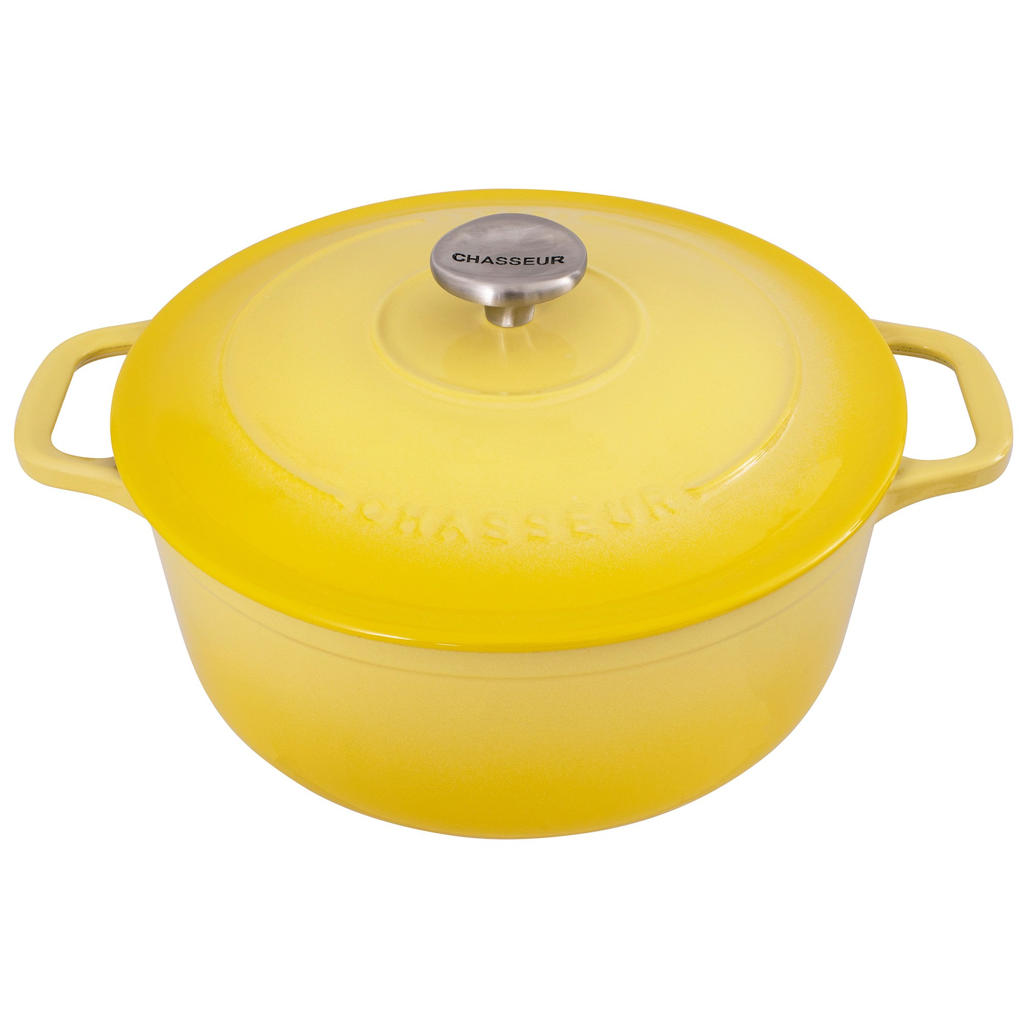 Chasseur Cast Iron Round French Oven, 28cm, Lemon Yellow