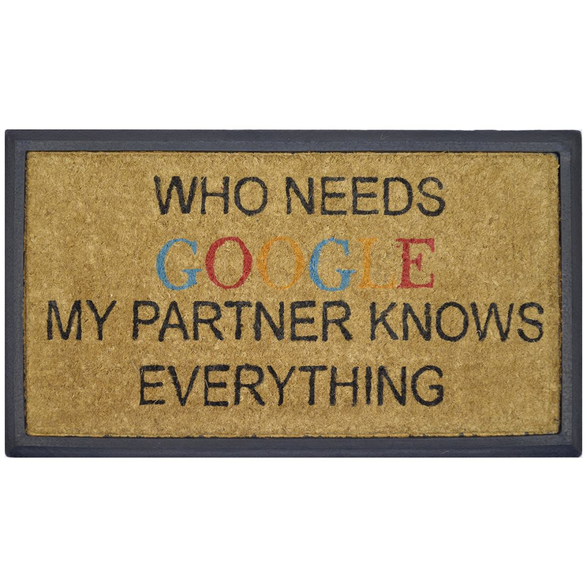 """""""My Partner Knows Everything"""" Rubber Framed Coir Doormat, 70x40cm"""