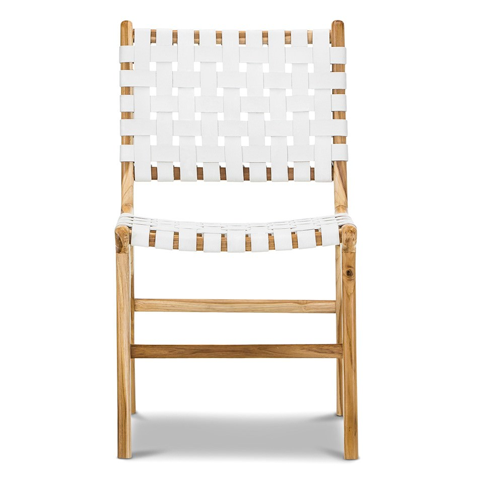 Lazie Woven Leather & Teak Dining Chair, White / Natural