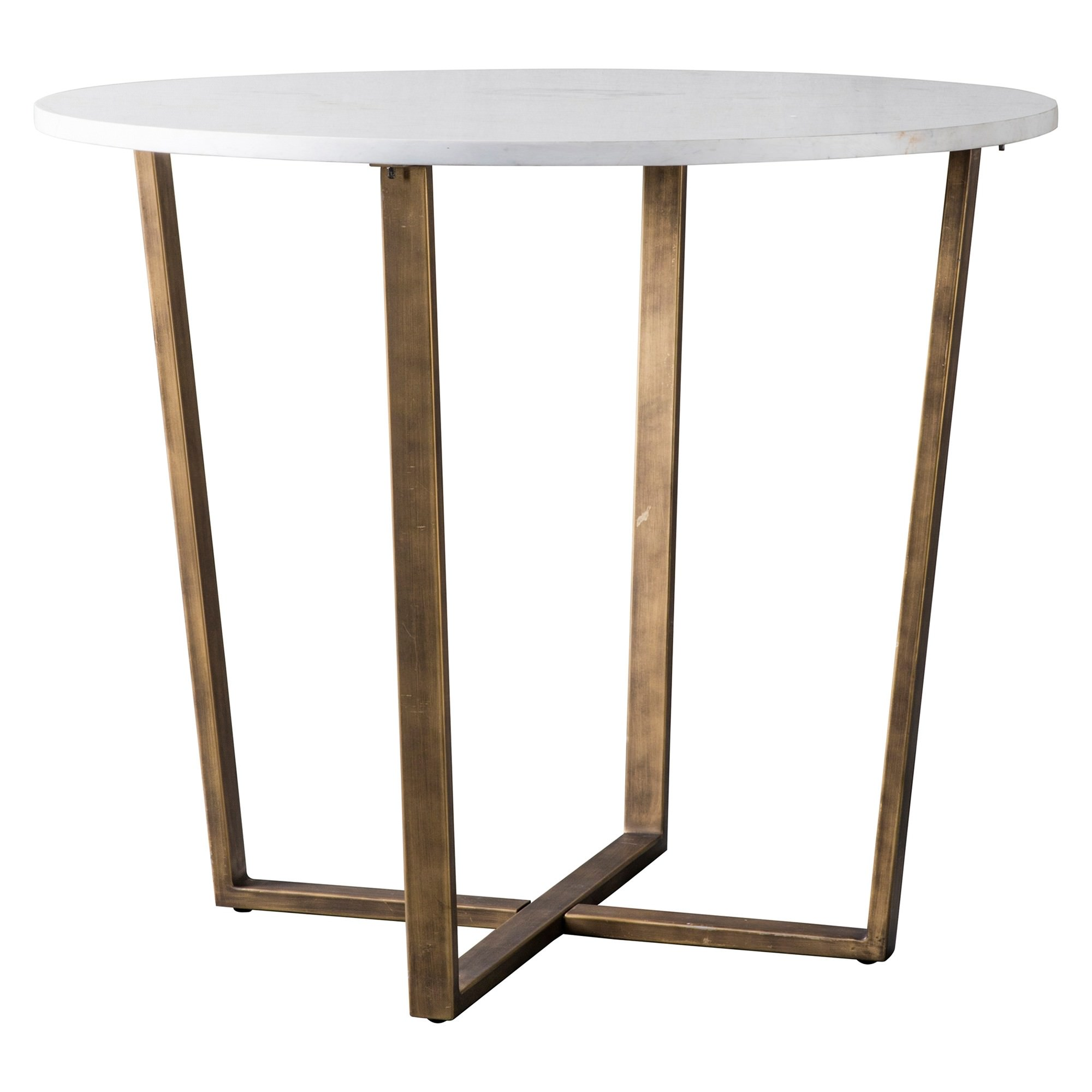 Earl Marble Top Round Dining Table, 90cm, White / Brass