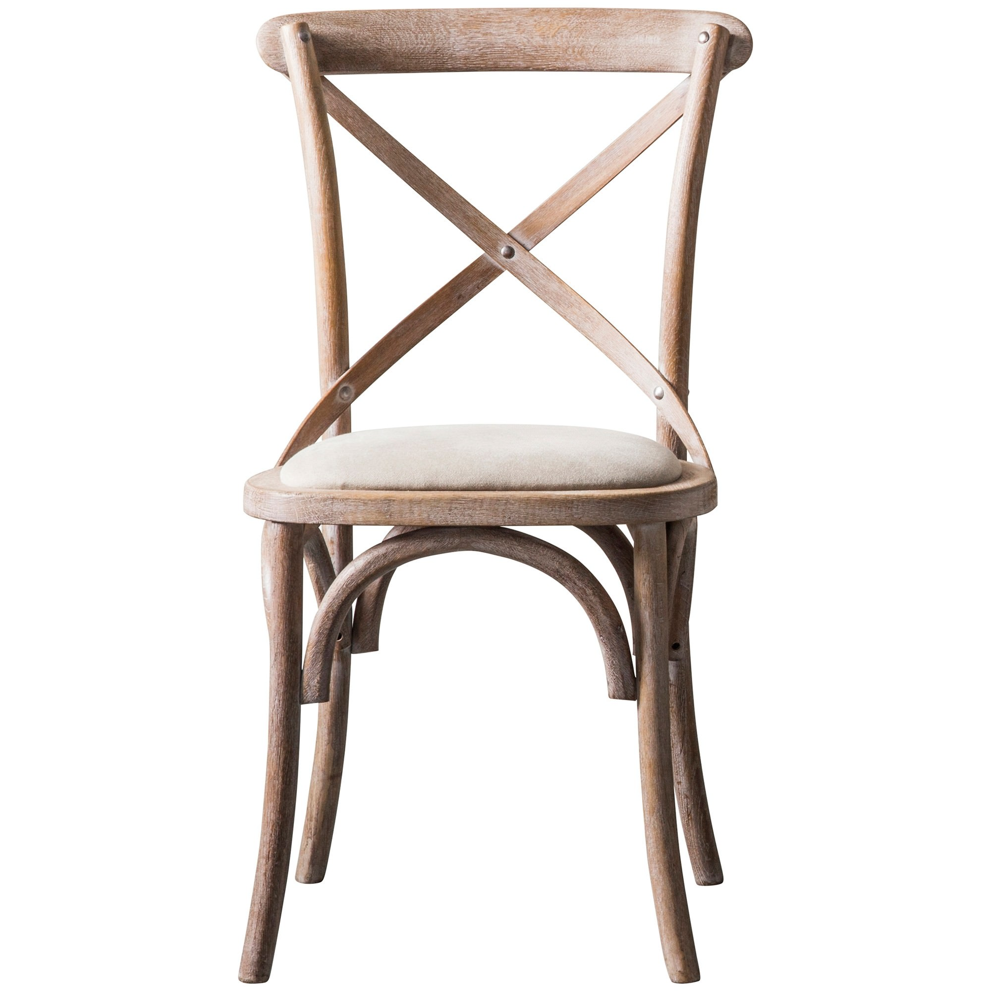 Zola Oak Timber Cross Back Dining Chair, Lime Washed Oak
