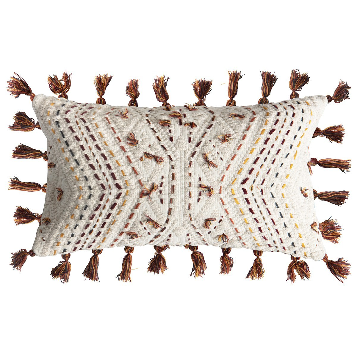 Page Embroidered Cotton Lumbar Cushion