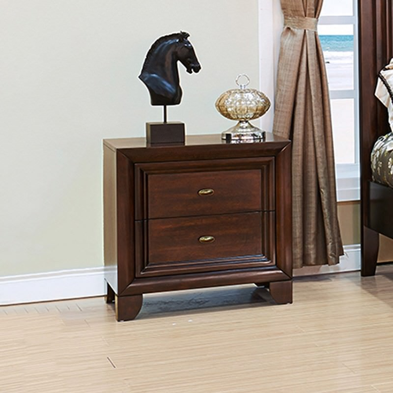 Merewood Solid American Poplar Timber 2 Drawer Bedside Table