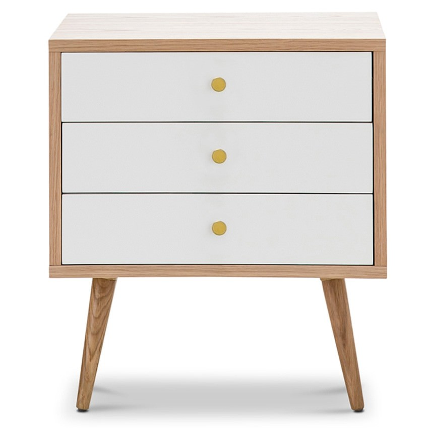 Liena Wooden 3 Drawer Side Table