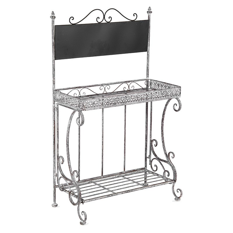 Baroque Metal Planter Stand with Blackboard