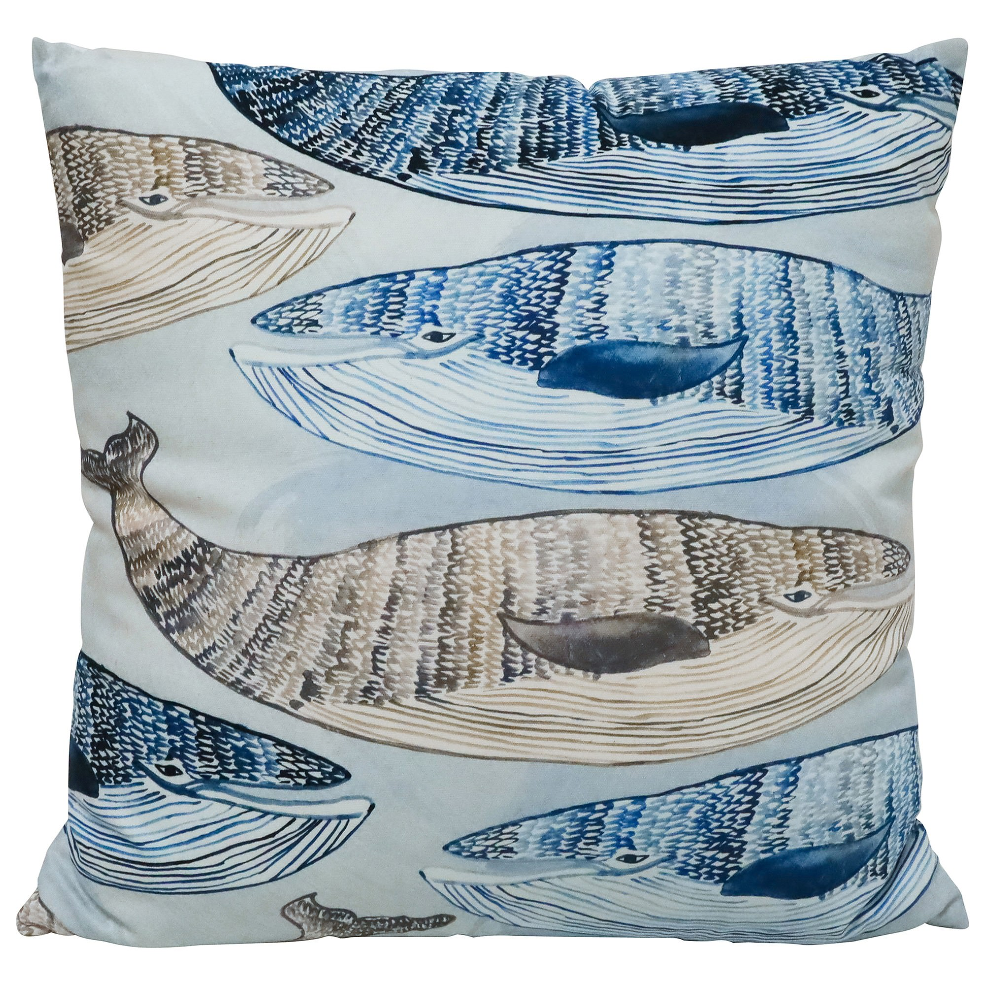 Swimming Whales Cotton Scatter Cushion, 55x55cm