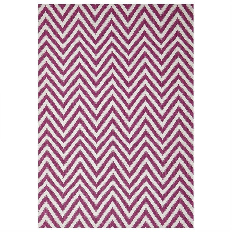 Modern Double Sided Flat Weave Chevron Design Cotton & Jute Rug in Pink - 225x155cm