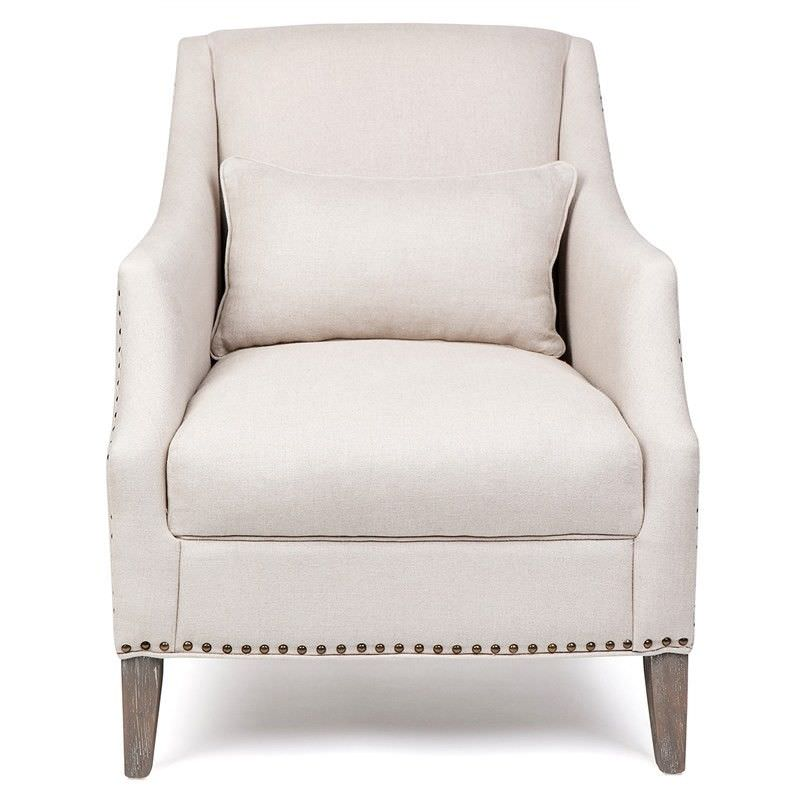Seville Linen Upholstered Oak Timber Armchair with Cushion,  Cream