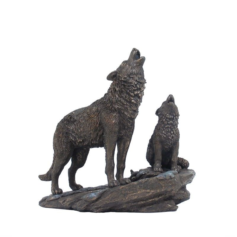 Veronese Cold Cast Bronze Coated Wild Life Figurine, Mother Wolf and child