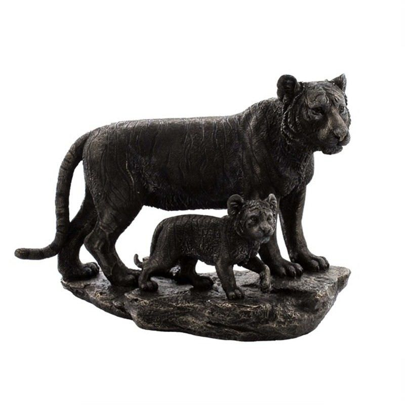 Veronese Cold Cast Bronze Coated Wild Life Figurine, Mother Tiger and child