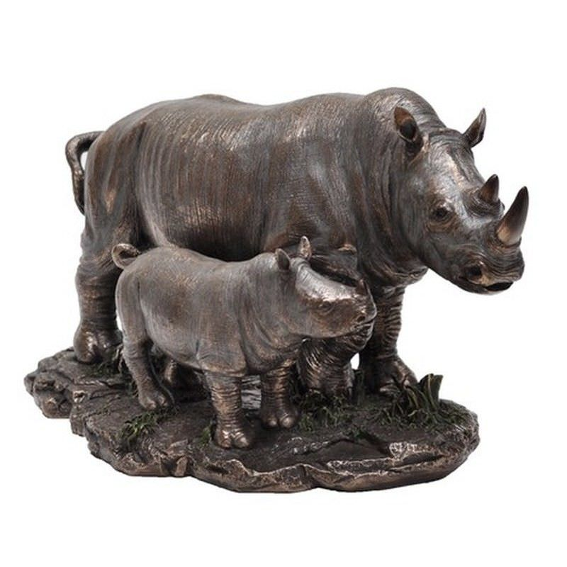 Veronese Cold Cast Bronze Coated Wild Life Figurine, Rhino Mother and Child