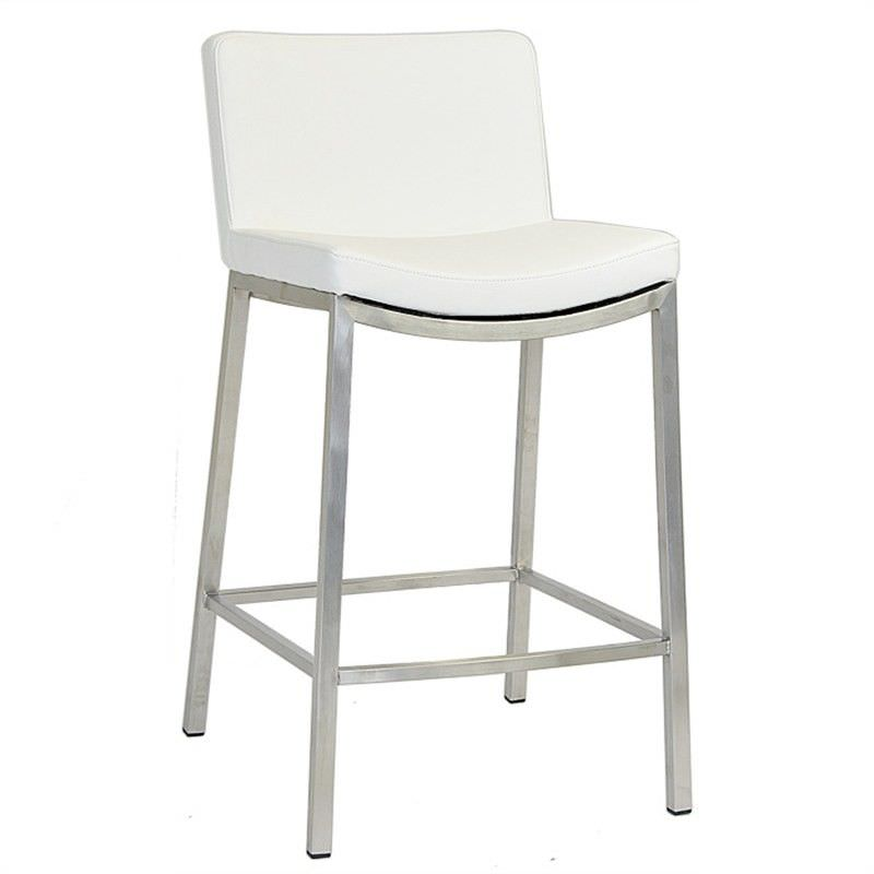 Amos Commercial Grade Stainless Steel Counter Stool with PU Seat, White