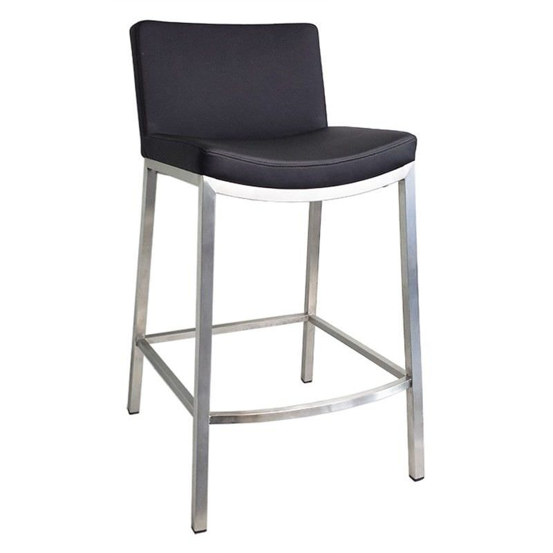 Amos Commercial Grade Stainless Steel Counter Stool with PU Seat, Black