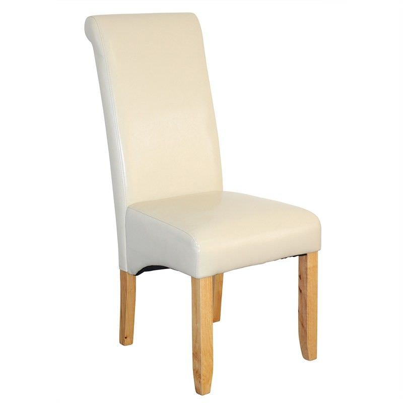 Averil PU Upholstered Dining Chair - Ivory/Blonde
