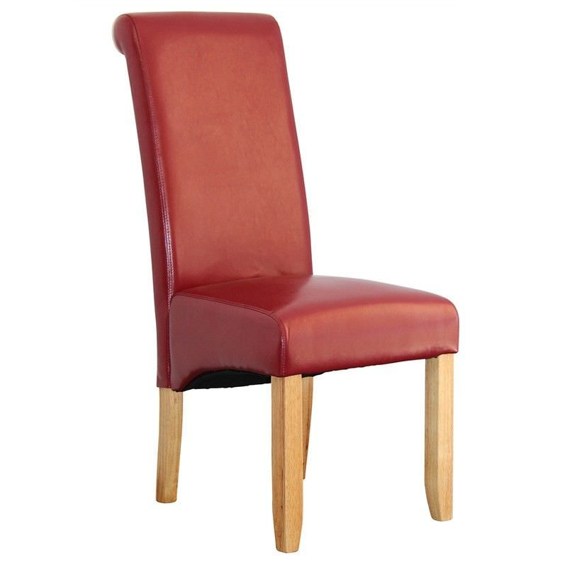 Averil PU Upholstered Dining Chair - Red/Blonde
