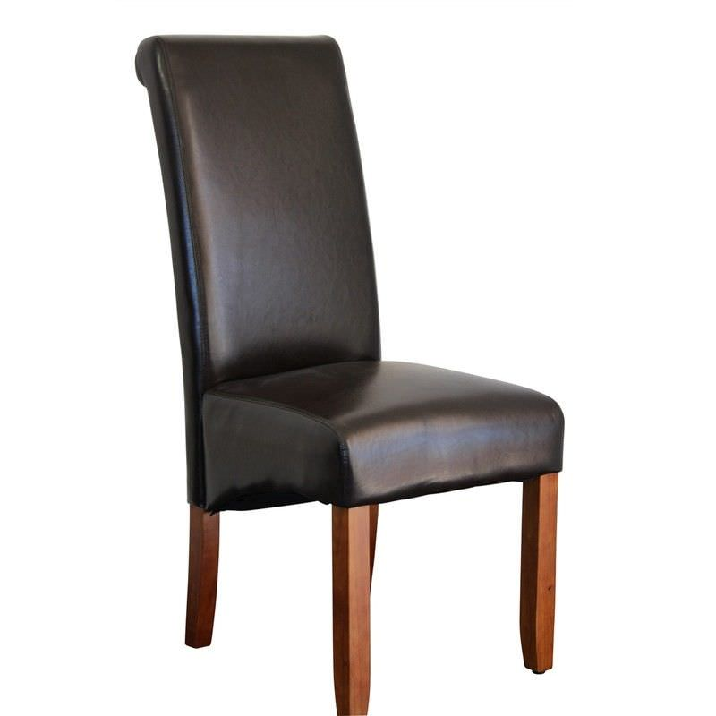 Averil PU Upholstered Dining Chair - Brown/Chestnut