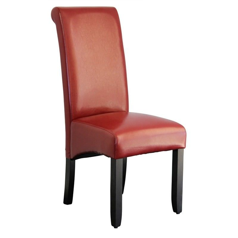 Averil PU Upholstered Dining Chair - Red/Wenge
