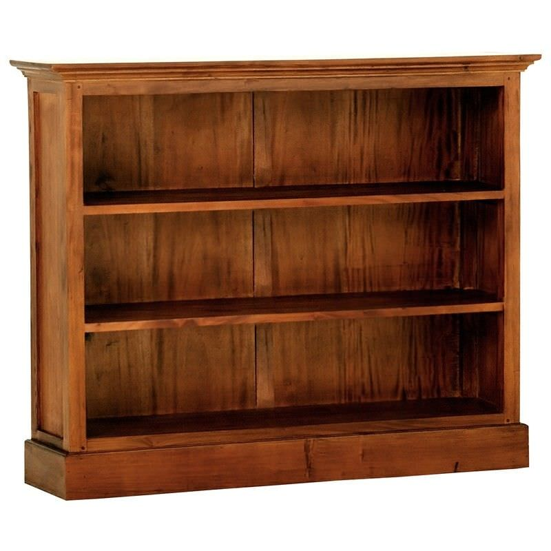Adolf Solid Mahogany Timber Double Shelf Low Bookcase - Light Pecan