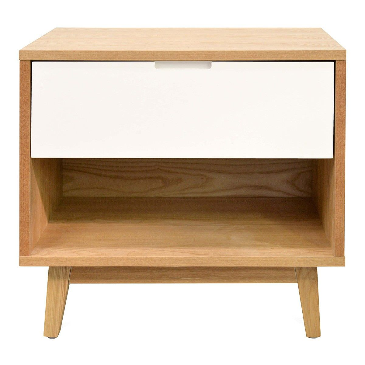Ian Wooden Bedside Table, Natural / White