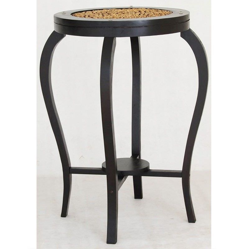Ornament Solid Mahogany Timber Round Bar Table, 70cm, Chocolate