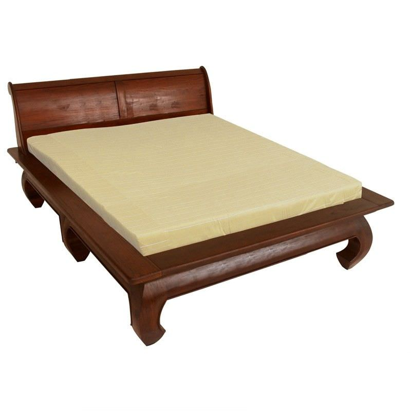 Bulu Solid Mahogany Timber Queen Size Opium Bed - Mahogany