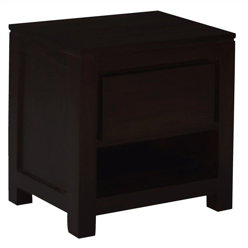Amsterdam Solid Mahogany Timber Single Drawer Bedside Table - Chocolate