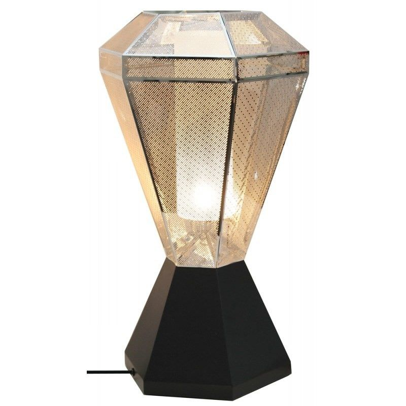 Moor Perforated Stainless Steel Diamond Table Lamp - Silver