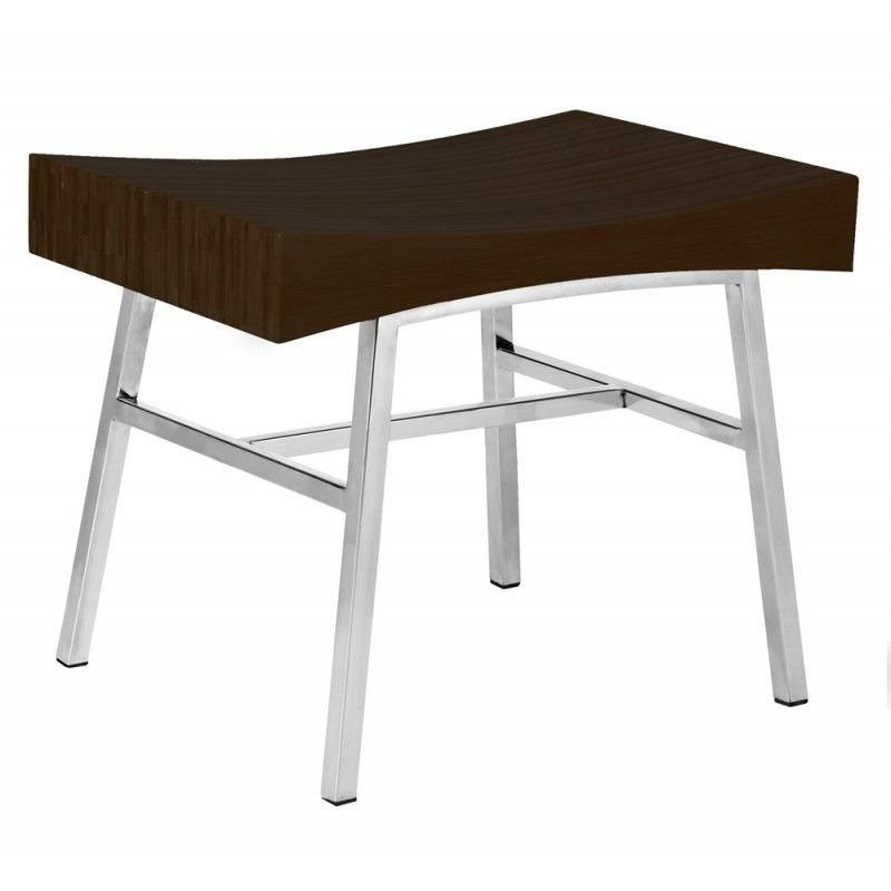 Ming Stainless Steel Bench with Bamboo Seat