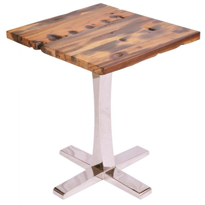 Catherine Recycled Ship Wood 80cm Square Dining Table with Stainless Steel Base - Natural