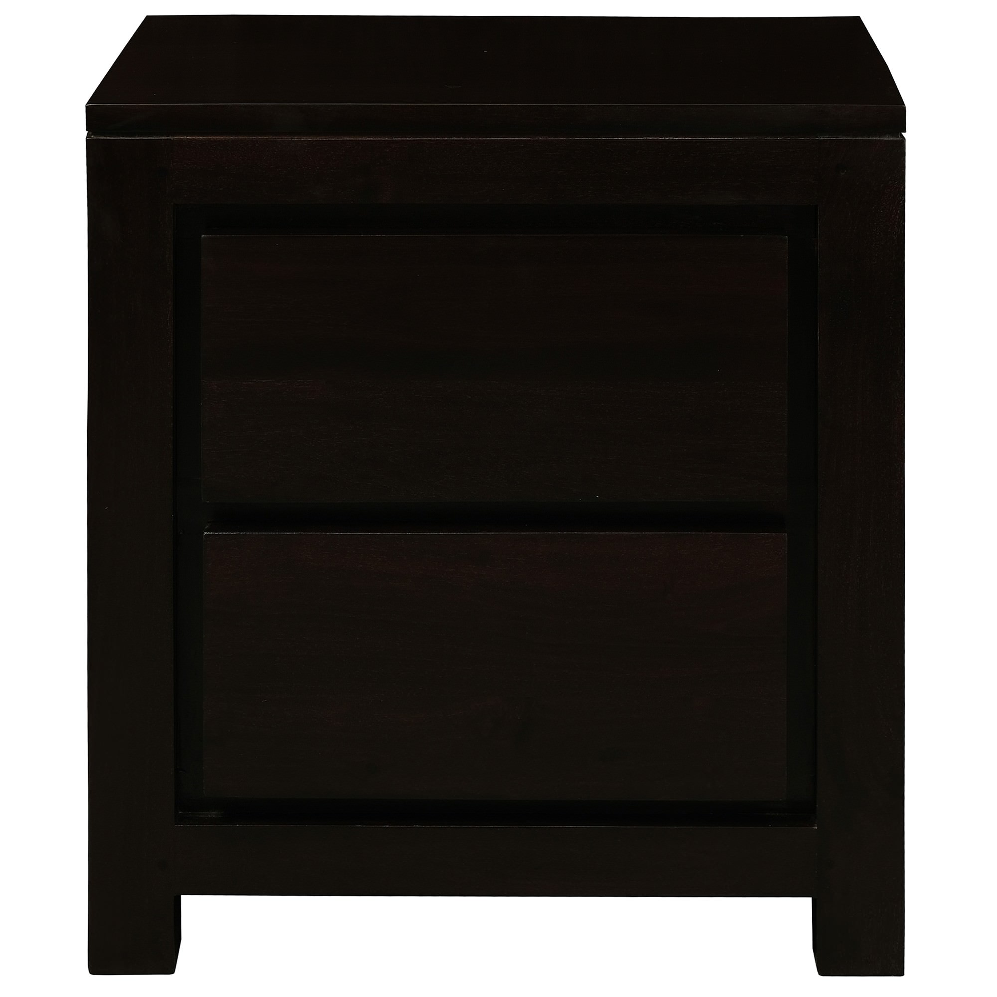 Amsterdam Solid Mahogany Timber 2 Drawer Bedside Table - Chocolate