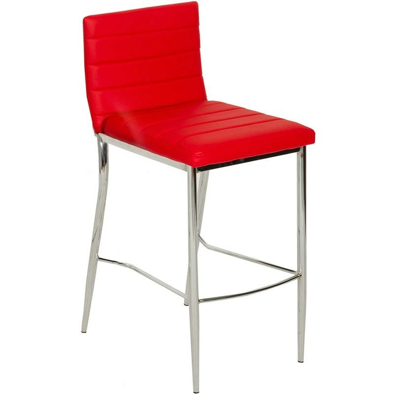 Neptune PU Leather Metal Bar Stool, Red