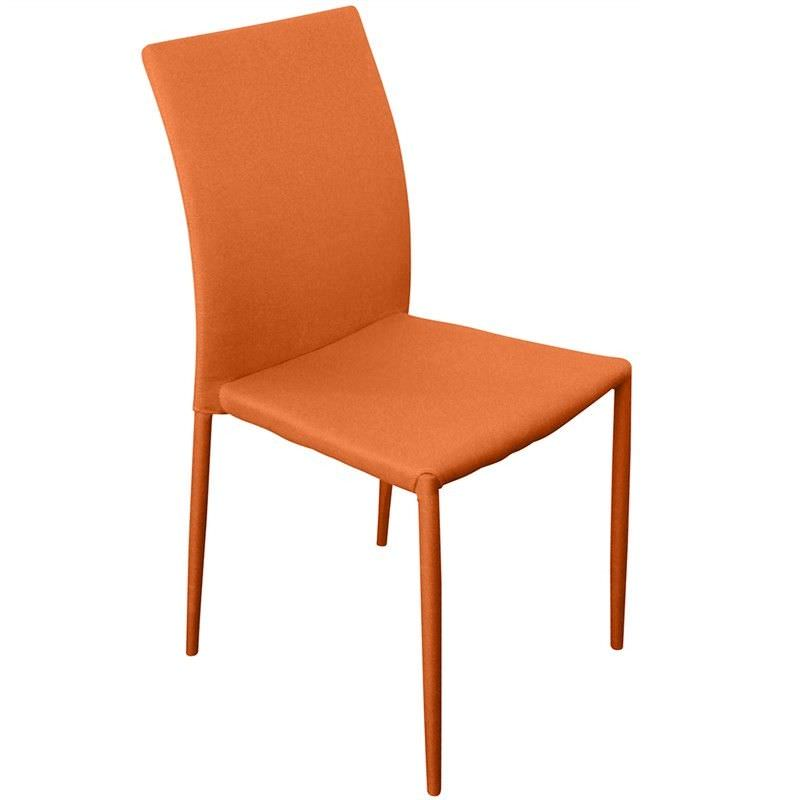 Sykes Fabric Upholstered Steel Dining Chair - Orange