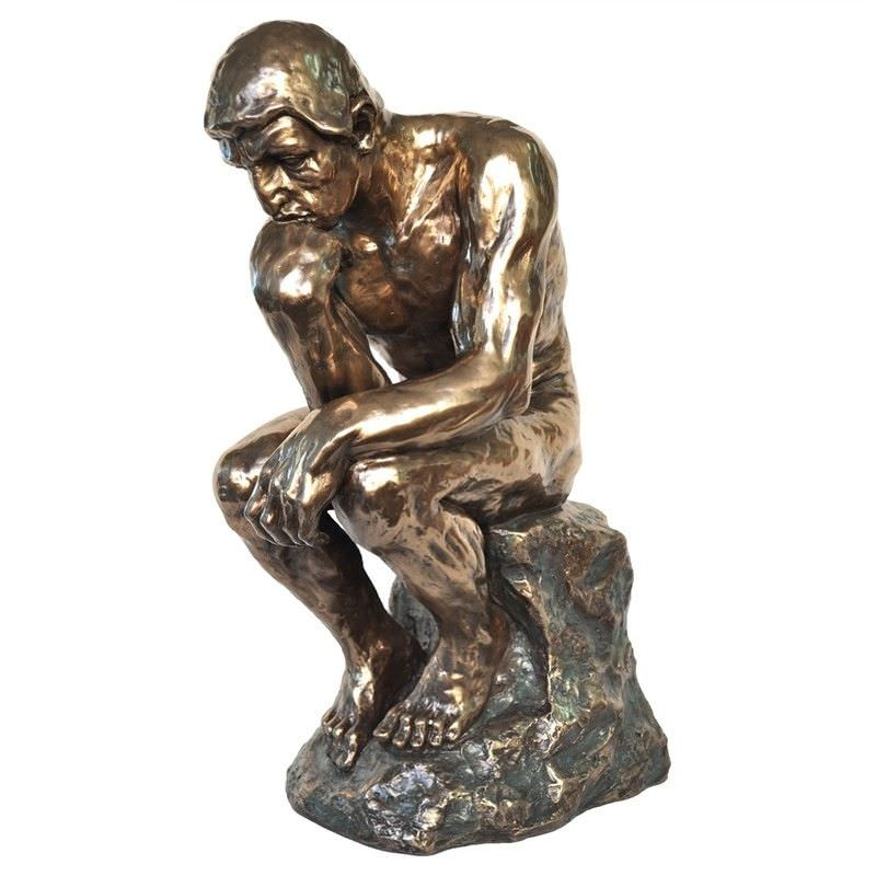 Veronese Cold Cast Bronze Coated Figurine, The Thinker, Large