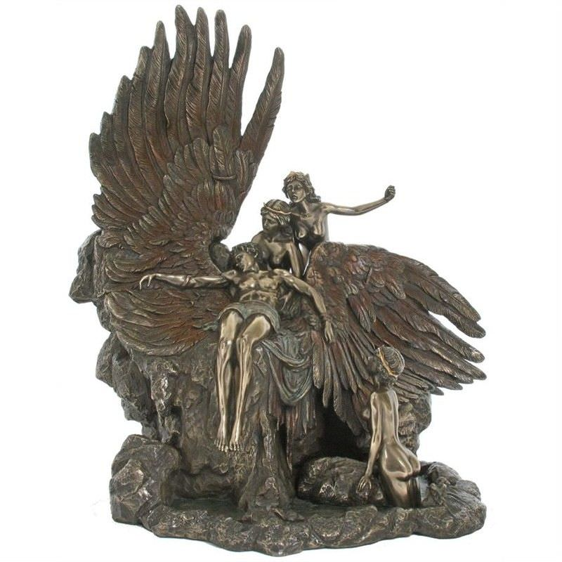 Veronese Cold Cast Bronze Coated Figurine, The Lament for Icarus by Herbert James Draper