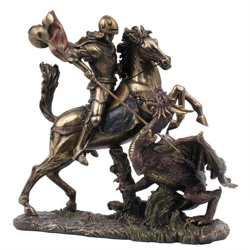 Veronese Cold Cast Bronze Coated Figurine, Saint George Slaying the Dragon