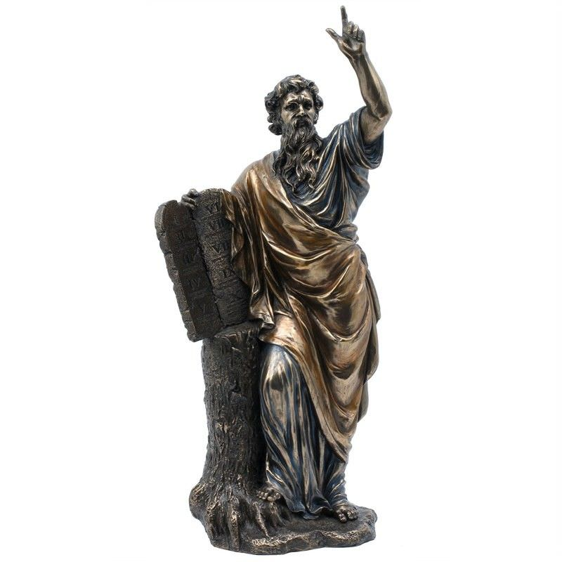 Veronese Cold Cast Bronze Coated Figurine, Moses Holds The Ten Commandments