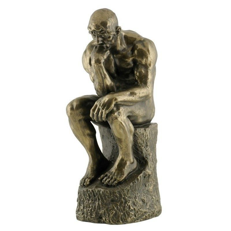 Veronese Cold Cast Bronze Coated Figurine, The Thinker, Small