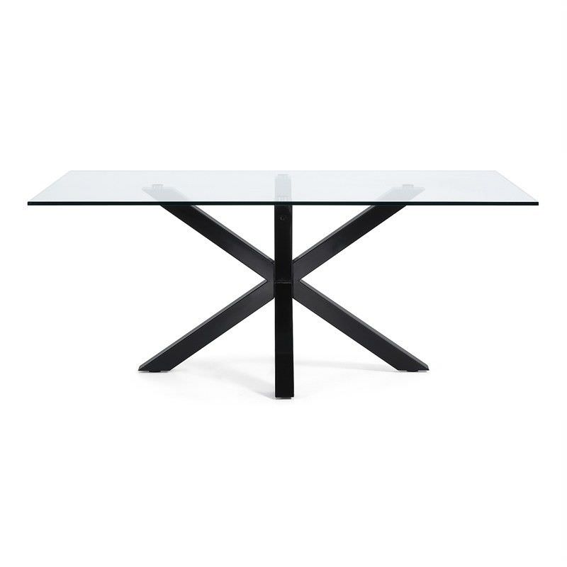 Bromley Tempered Glass & Epoxy Steel Dining Table, 200cm, Clear / Black