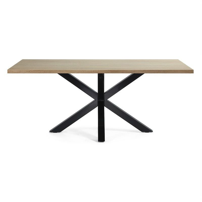 Bromley Engineered Wood & Epoxy Steel Dining Table, 180cm, Natural / Black