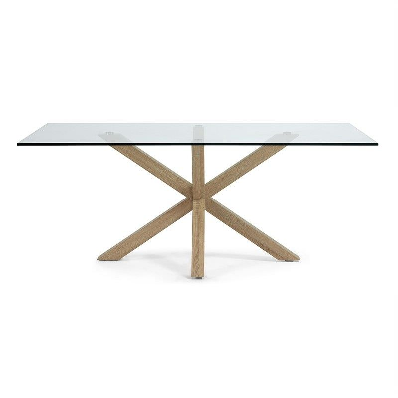 Bromley Tempered Glass & Steel Dining Table, 180cm, Clear / Natural