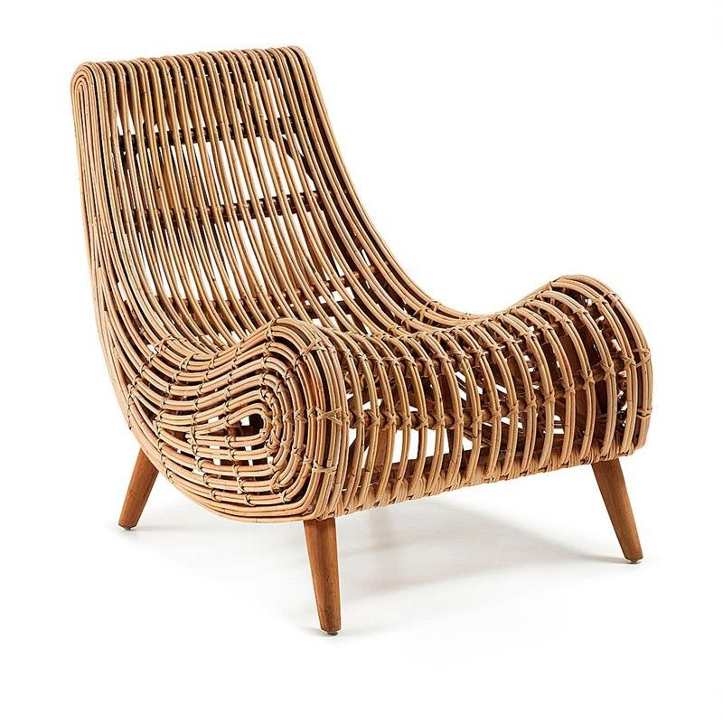 Macon Solid Cane Rattan Accent Lounge Chair