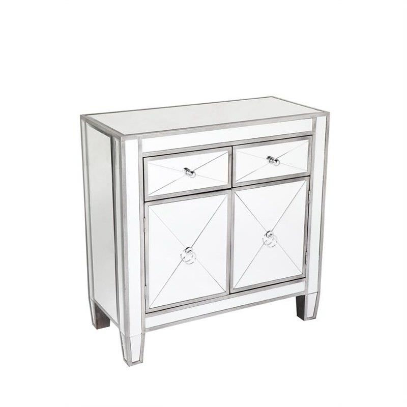 Apolo Mirrored 2 Door 2 Drawer Side Cabinet, Antique Silver