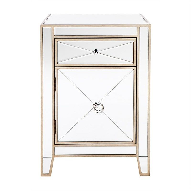 Apolo Mirrored Bedside Table, Antique Gold