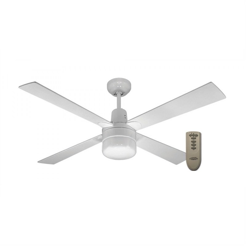 Martec Four Seasons Alpha 4 Plywood Blade Ceiling Fan (CFW124CR) with Clipper Light and Remote in White