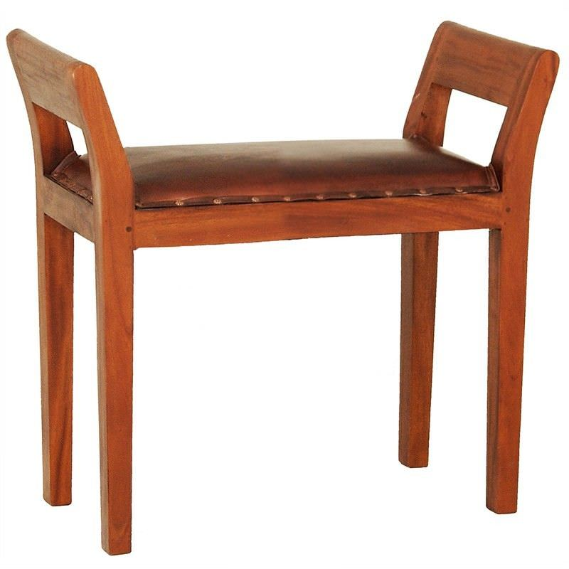 Dacey Solid Mahogany Timber Single Bench with Leather Seat - Light Pecan