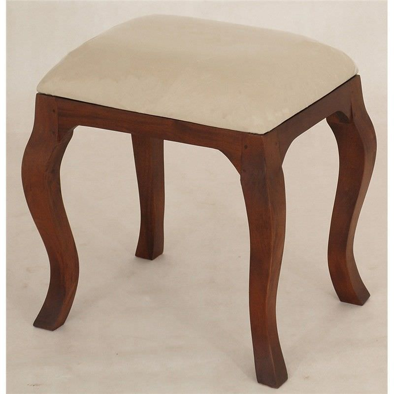 Queen Anne Solid Mahogany Timber Dressing Stool, Mahogany