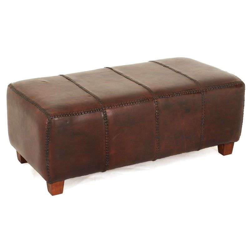 Rhyno Leather Upholstered Mahogany Timber Ottoman - Large