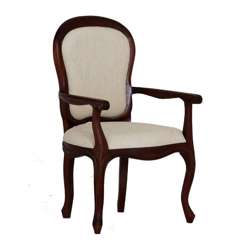 Queen Ann Solid Mahogany Timber Dining Armchair - Mahogany